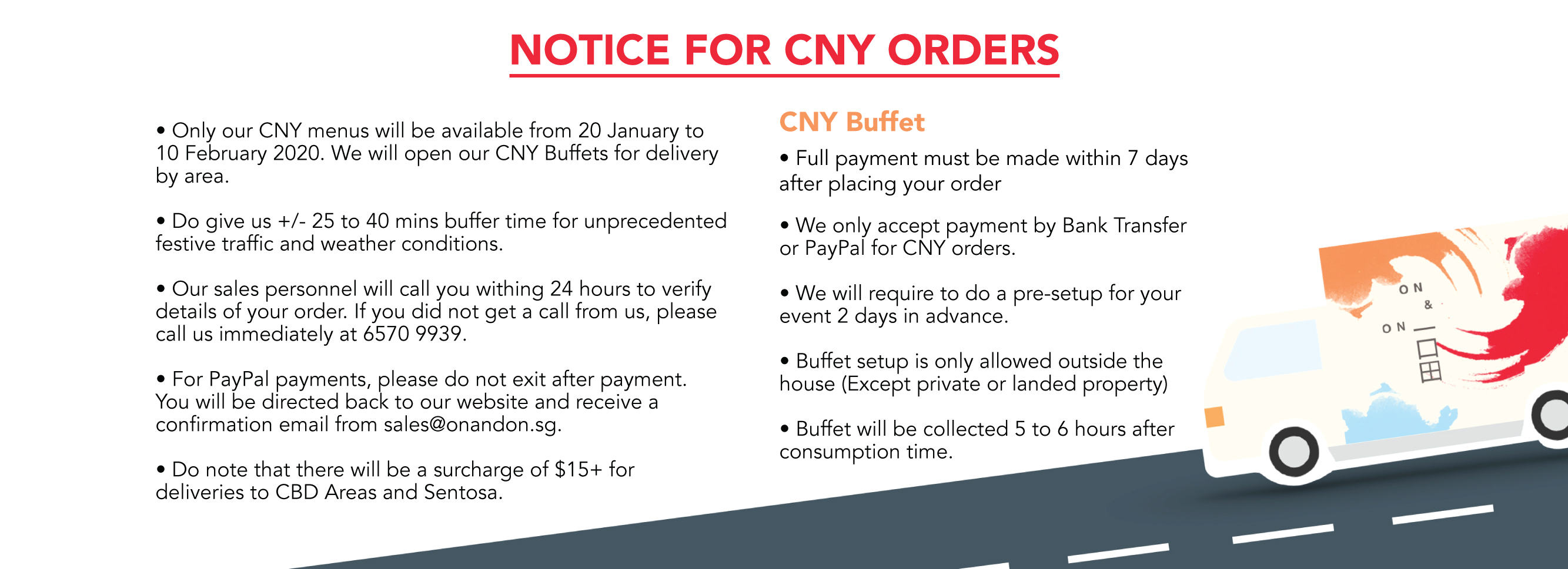 CNY Delivery Notice